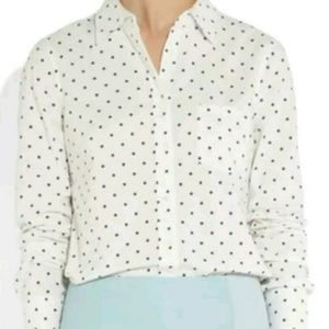 J. Crew Boy Oxford Shirt in Black/White Polka Dot